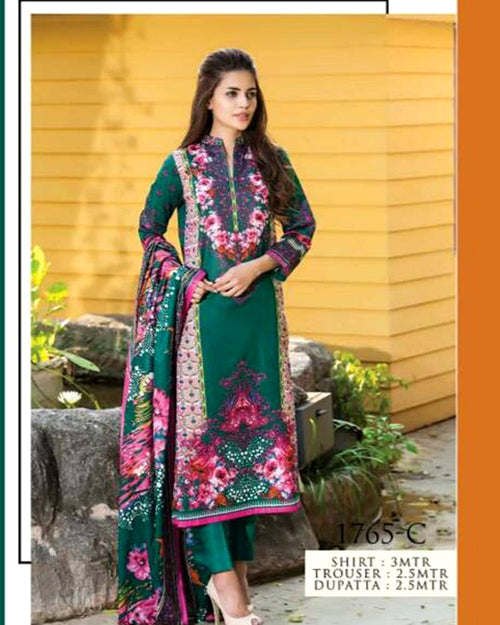 Jhalak Lawn Suits 3 Piece - 1765-C (Original) (Unstitched)