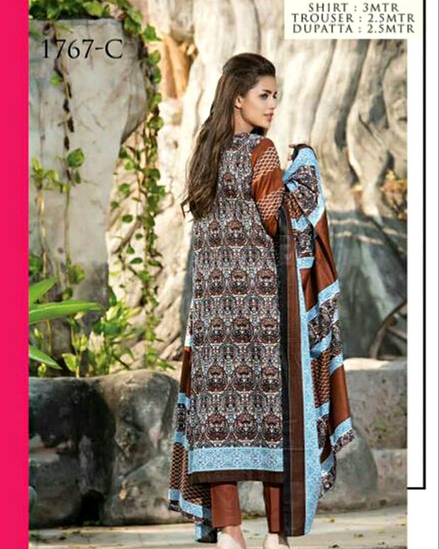 Jhalak Lawn Suits 3 Piece - 1767-C (Original) (Unstitched)