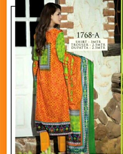 Jhalak Lawn Suits 3 Piece - 1768-A (Original) (Unstitched)