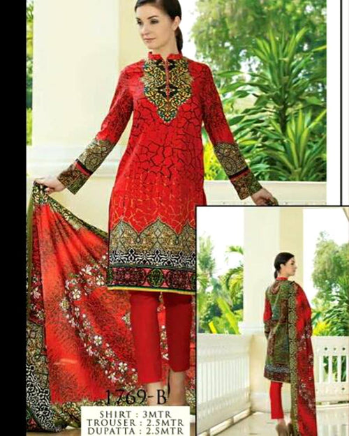 Jhalak Lawn Suits 3 Piece - 1769-B (Original) (Unstitched)