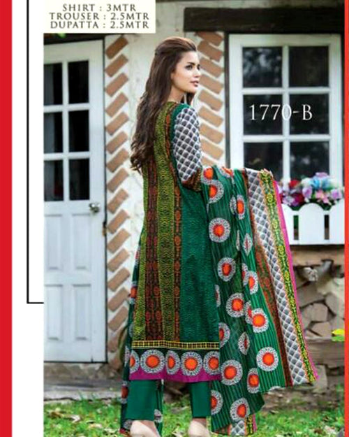 Jhalak Lawn Suits 3 Piece - 1770-B (Original) (Unstitched)