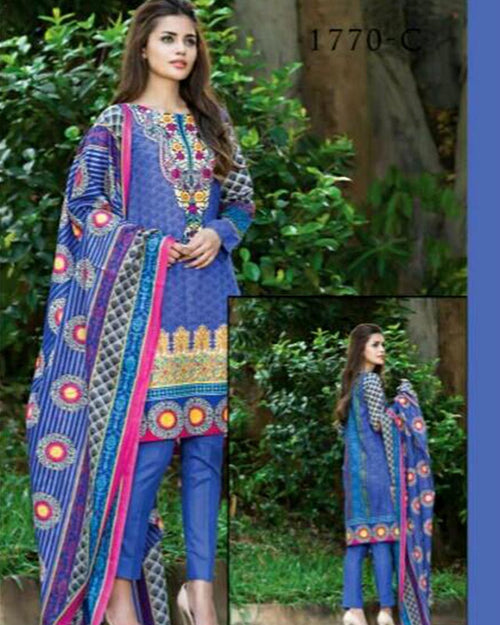 Jhalak Lawn Suits 3 Piece - 1770-C (Original) (Unstitched)