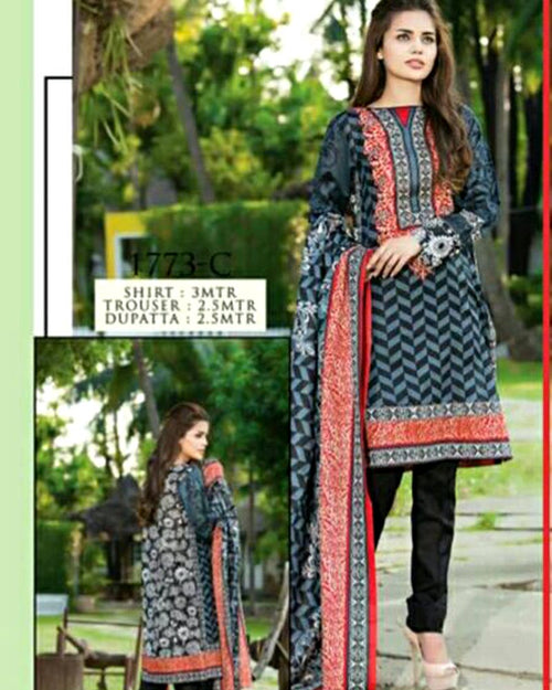 Jhalak Lawn Suits 3 Piece - 1773-C (Original) (Unstitched)