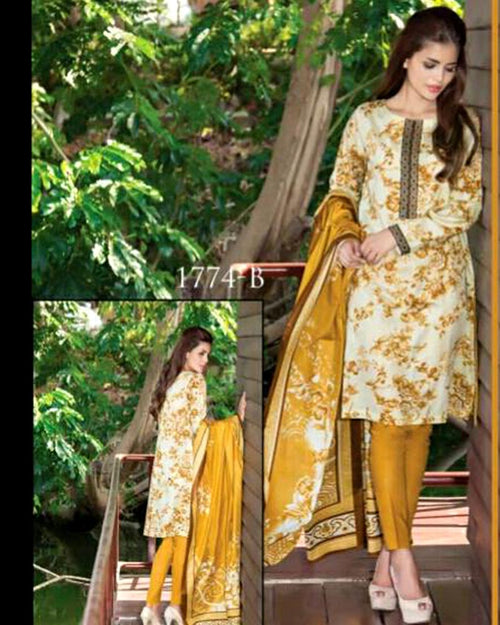 Jhalak Lawn Suits 3 Piece - 1774-B (Original) (Unstitched)