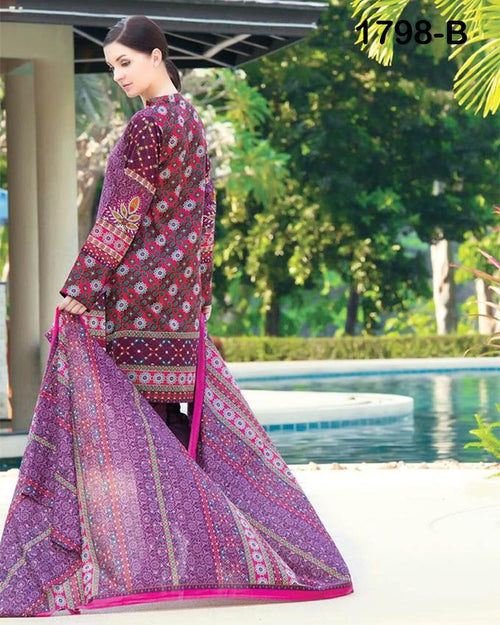 Jhalak Lawn Suits 3 Piece - 1798-B (Original) (Unstitched)