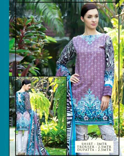 Jhalak Lawn Suits 3 Piece - 1799-C (Original) (Unstitched)