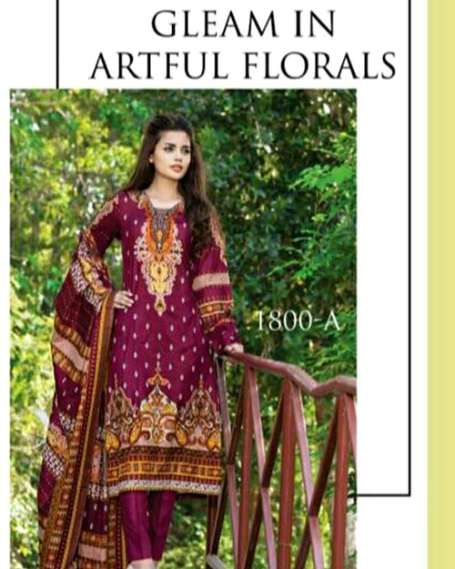 Jhalak Lawn Suits 3 Piece - 1800-A (Original) (Unstitched)
