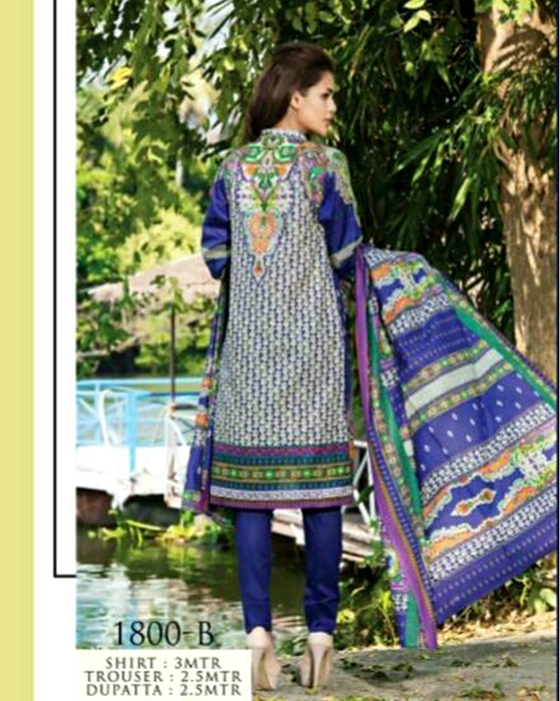 Jhalak Lawn Suits 3 Piece - 1800-B (Original) (Unstitched)