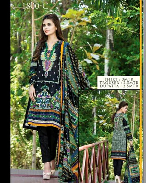 Jhalak Lawn Suits 3 Piece - 1800-C (Original) (Unstitched)