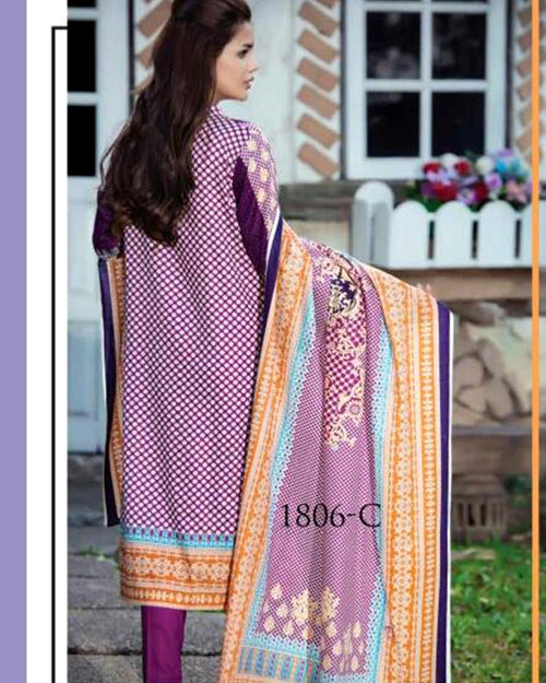 Jhalak Lawn Suits 3 Piece - 1806-C (Original) (Unstitched)