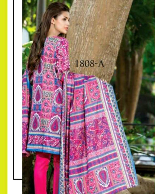 Jhalak Lawn Suits 3 Piece - 1808-A (Original) (Unstitched)