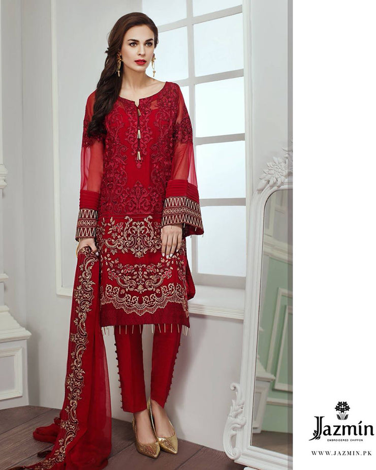 Jazmin Chiffon Embroidered Collection With Embroidered Dupatta (Replica)(Unstitched)