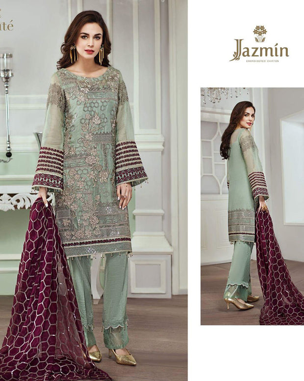 JAZMINE FULL HEAVY EMBROIDERY MAYSOORI SUIT WITH HEAVY EMBROIDERY CHIFFON DUPATTA (Replica)(Unstitched)