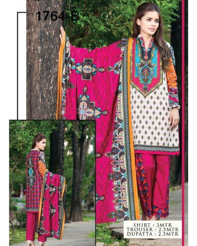 Jhalak Lawn Suits 3 Piece - 1764-B (Original) (Unstitched)