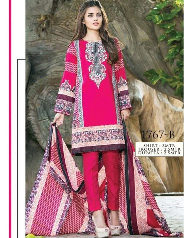 Jhalak Lawn Suits 3 Piece - 1767-B (Original) (Unstitched)