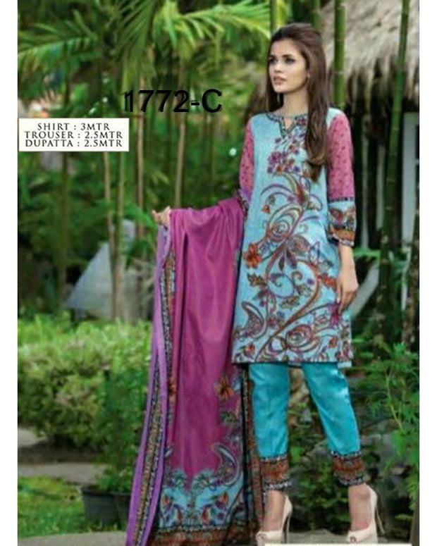Jhalak Lawn Suits 3 Piece - 1772-C (Original) (Unstitched)