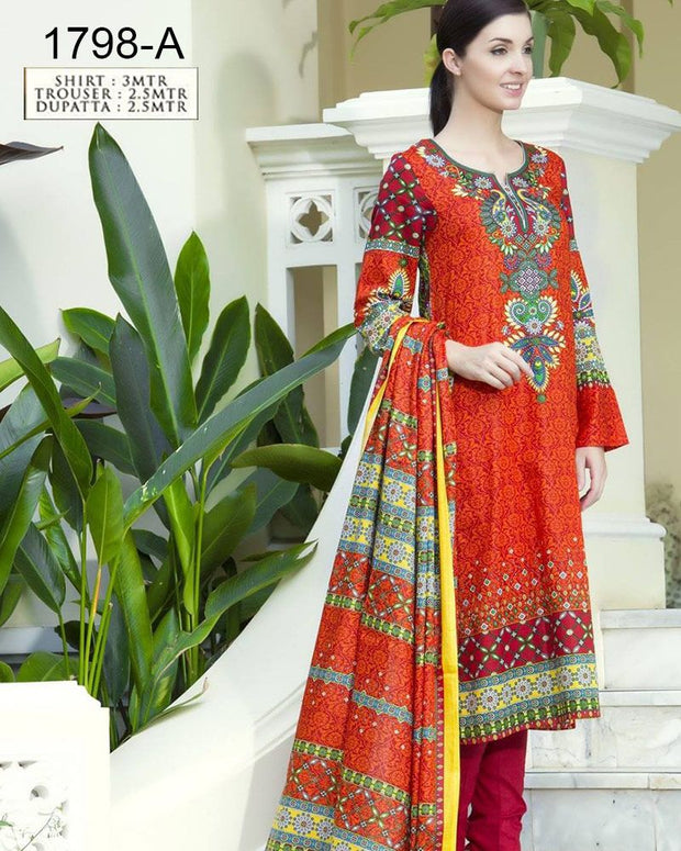Jhalak Lawn Suits 3 Piece - 1798-A (Original) (Unstitched)