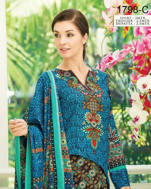 Jhalak Lawn Suits 3 Piece - 1798-C (Original) (Unstitched)