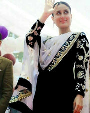 Kareena Kapoor Full Chiffon Embroidered Suit With Heavy Embroidered Net Dupatta (Replica)(Unstitched)