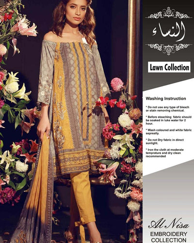 Khaddi Lawn With Khaddi Net Dupatta (Replica)(Unstitched)