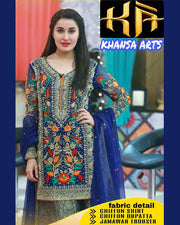KHANSA ARTS MOST HIT DESIGN MORNING SHOW MADE ON CHIFFON AND JAMAWAR (Replica)(Unstitched)