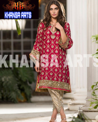 KHANSA CHIFFON COLLECTION WITH MASK NET DUPATTA - KA-001 (Replica)(Unstitched)