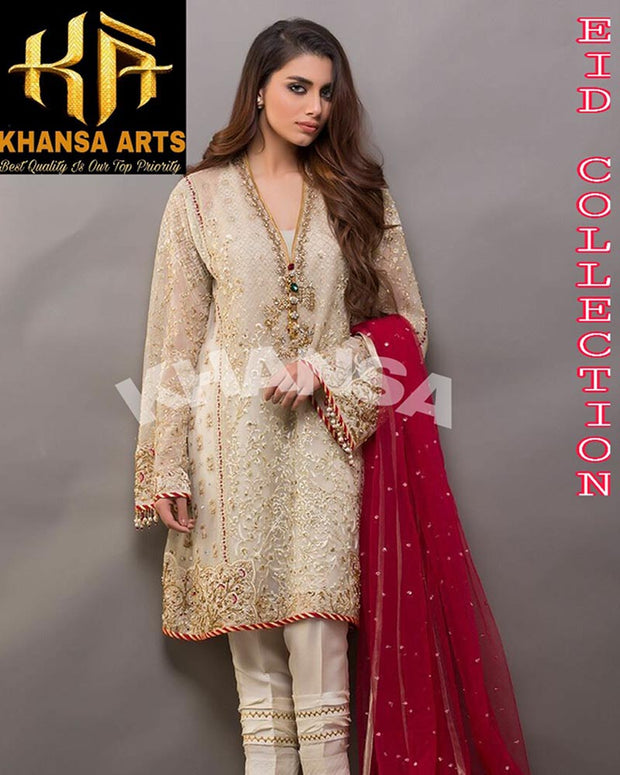 Khansa Chiffon Collection - KA-015 (Replica)(Unstitched)