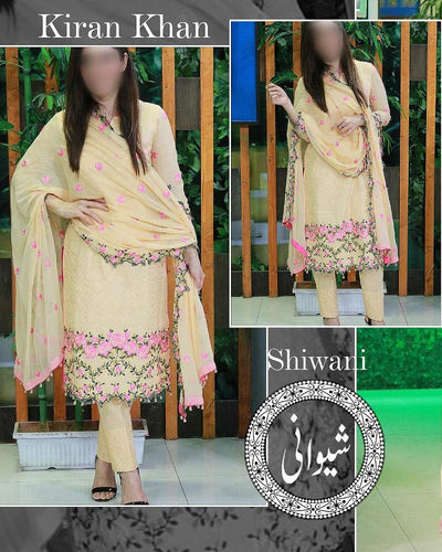 Kiran Khan Lawn Suits By Shiwani - 3 Piece Lawn Suits - (Replica)(Unstitched)
