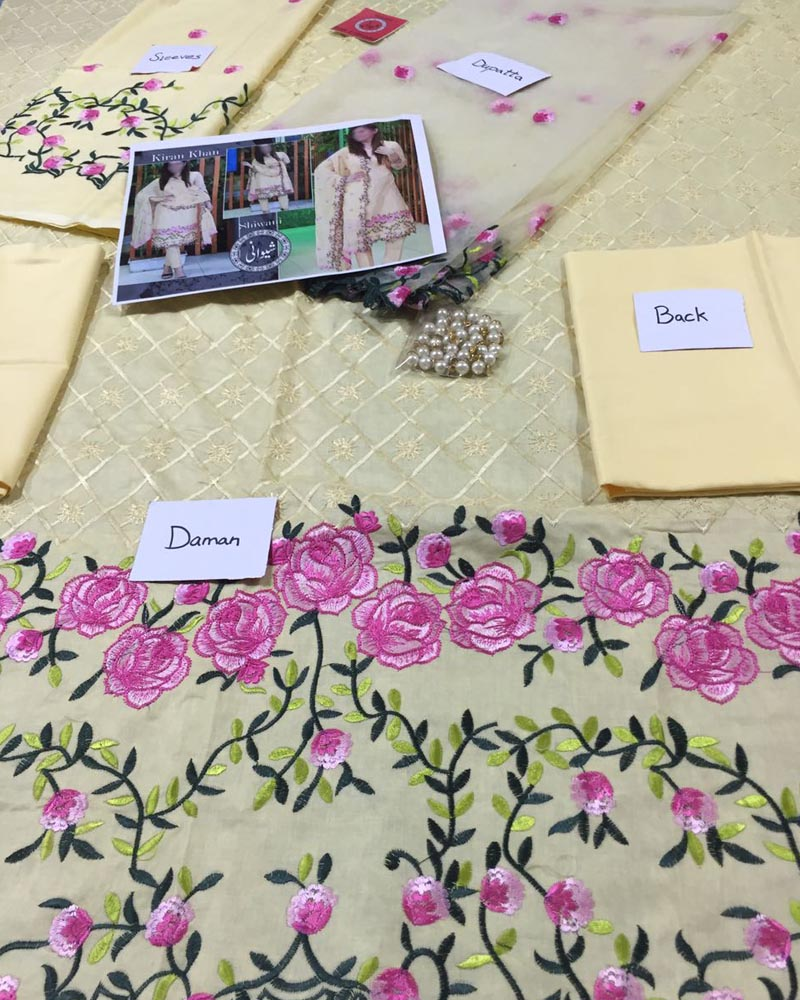 Buy Kiran Khan Lawn Suits By Shiwani - 3 Piece Lawn Suits - (Replica)(Unstitched) Online in Karachi, Lahore, Islamabad, Pakistan, Rs.{{amount_no_decimals}}, Ladies Replica Suit Online Shopping in Pakistan, Kiran Khan, 3PC Unstitched Suits, Brand = Shiwani By D.K Brother, cf-color-skin, cf-size-unstitched, cf-type-ladies-replica-suit, cf-vendor-ruby-lawn, Clothing, Collection = Kiran Khan Lawn, Color = Skin, Dupatta = Net Dupatta 2 Side Embroidery, Lawn Suits, Material = Lawn, Replica Lawn Suits, Replica Suits, Size = Unstitched, Style = Embroidered, Unstitched Suits, Women, Womens Pakistani Clothing, Online Shopping in Pakistan - diKHAWA Fashion