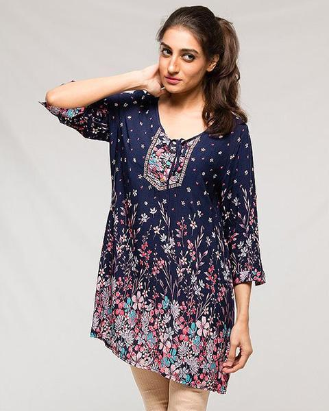 Fancy Collection Stylish Digital Printed Lawn Kurti - for Women & Office Girls - Stitch Kurti - Kurti - diKHAWA Online Shopping in Pakistan