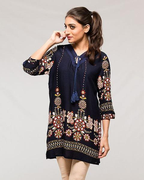 Fancy Collection Stylish Digital Printed Lawn Kurti - for Women & Office Girls