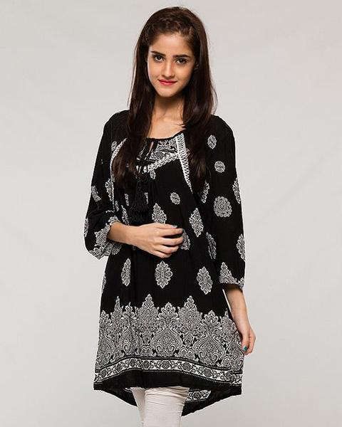 Lawn Kurti for Women - Black Printed - Stitch Kurti - Kurti - diKHAWA Online Shopping in Pakistan