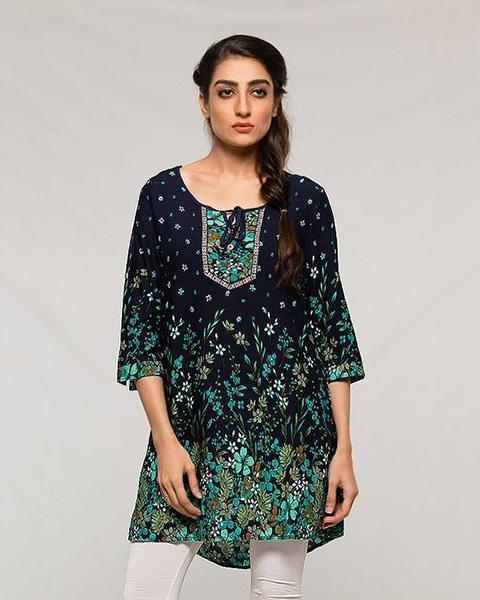 Dark Blue Forest Printed Designed Lawn Kurti - for Office Girls