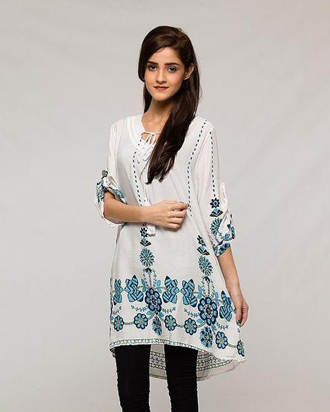 Simple Traditional Printed Designed Lawn Kurti - for Office Girls - Stitch Kurti - Kurti - diKHAWA Online Shopping in Pakistan