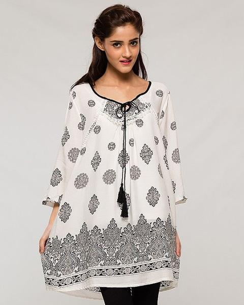 Indian Tradition Designed White Lawn Kurti - for Women