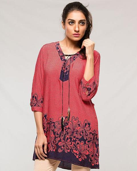 Newest Designed Lawn Kurti - Pink Rose for Women - Stitch Kurti - Kurti - diKHAWA Online Shopping in Pakistan