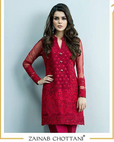 Zainab Chottani Embroidered Kurti With Plain Back 1539 (Replica)(Unstitched)