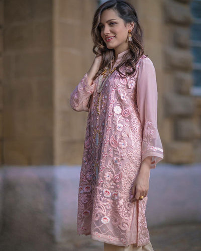 Ladies Embroidered 3Pc Suit Full Embroidered 1523 Replica - Unstitched