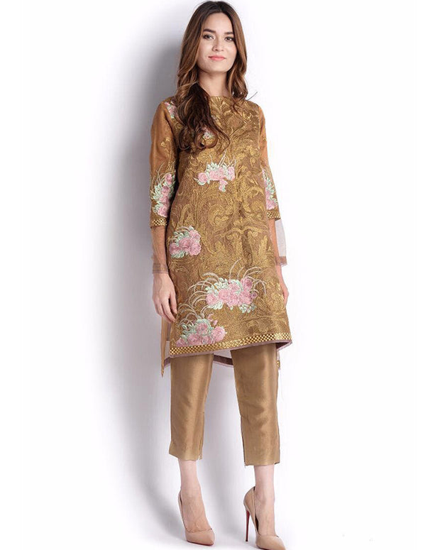 Ladies Embroidered Kurti With Plain Back 1590 (Replica)(Unstitched)