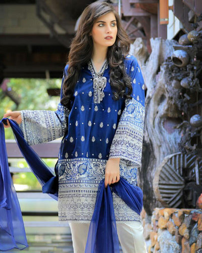 LSM Festive Collection Full Embroidery Lawn With Net Dupatta (Replica)(Unstitched)