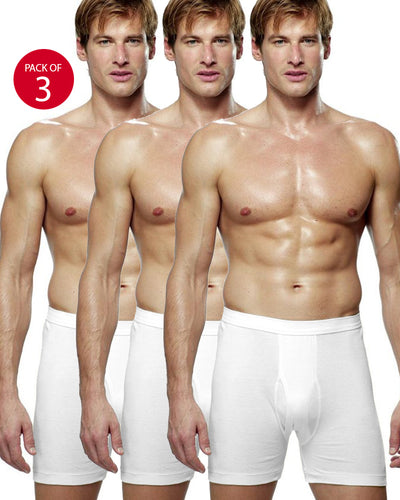 Pack of 3 - LUX Premium Mens Boxers - White Cotton Boxers