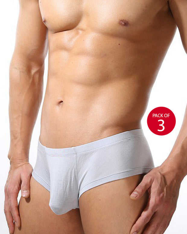 Pack of 3 - LUX Premium Mens Briefs - White Cotton Open Briefs