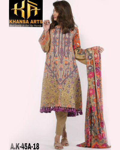 Ladies Replica Suit With Chiffon Printed Dupatta AK-45A (Replica)(Unstitched)