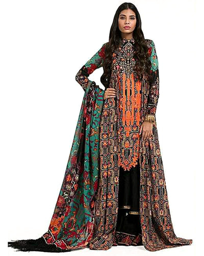 Ladies Replica Suit With Chiffon Printed Dupatta AK-45B (Replica)(Unstitched)