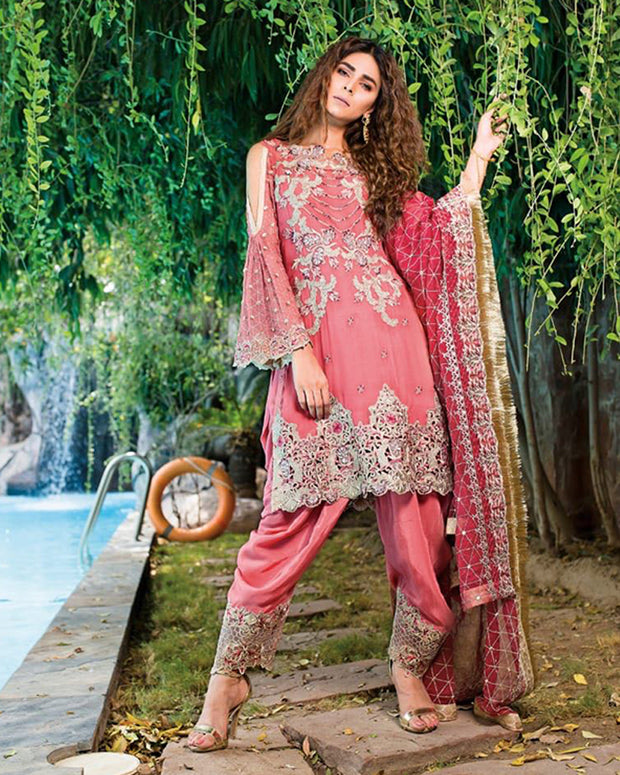 Embroidered Chiffon Part Wear Dress With Heavy Embroidered Chiffon Dupatta (Replica)(Unstitched)