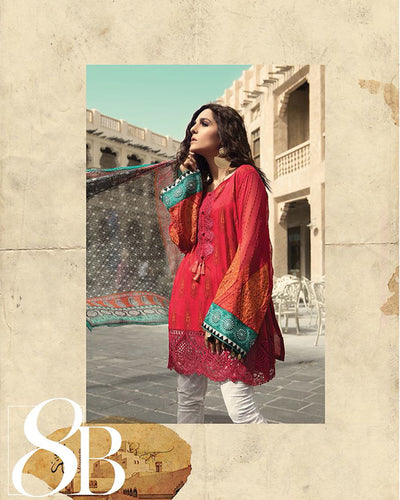 Ladies Replica Suit With Chiffon Printed Dupatta 8B (Replica)(Unstitched)