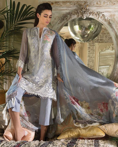Ladies Replica Suit With Chiffon Printed Dupatta (Replica)(Unstitched)