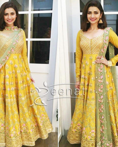 Indian Yellow Maxi Luxury Collection Full Suit On Net (Replica)(Unstitched)