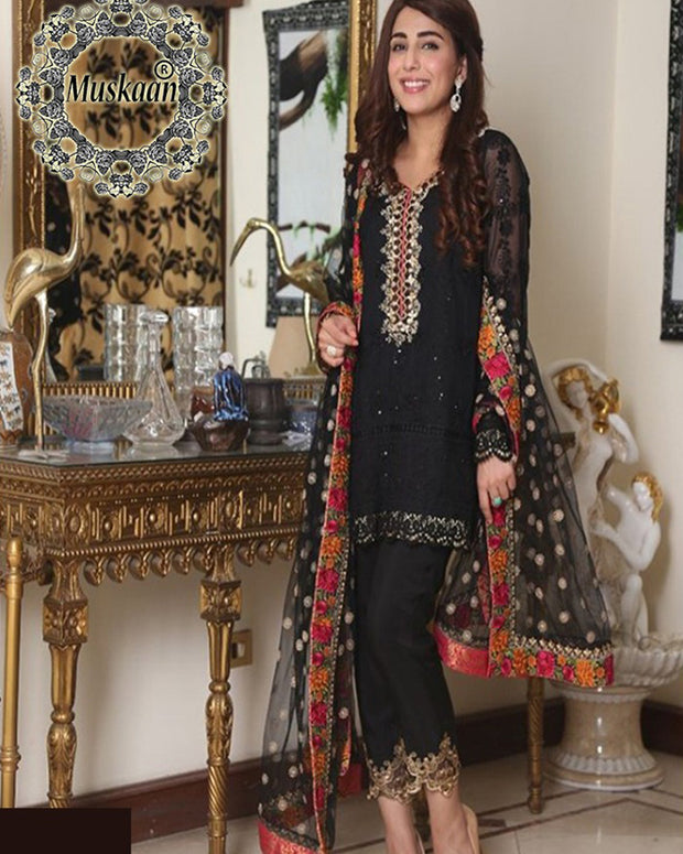 Mina Hasan Chiffon Collection - Black Bridal Collection (Replica)(Unstitched)