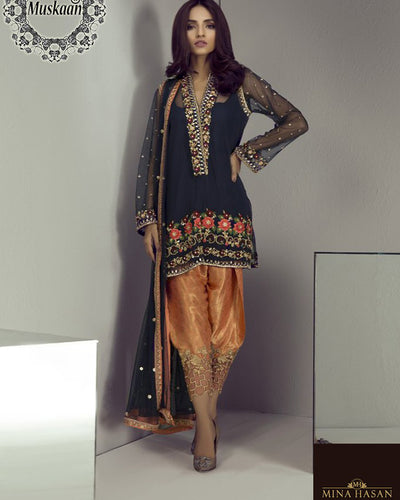 Mina Hasan Bridal Chiffon Collection - Navy Blue (Replica)(Unstitched)